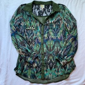 Fig and Flower Green & Lace Button Down Blouse